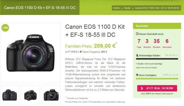 Canon EOS 1100 D Kit + EF-S 18-55 III DC für 289,00€