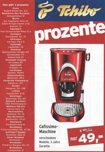 Cafissimo - Maschine 49,-€ (OFFLINE) ab 01.08 in Tchibo Prozente-Shop´s