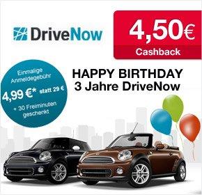 DriveNow 4,99€ Anmeldegebühr + 30 Freiminuten + 4,50€ Cashback @Qipu
