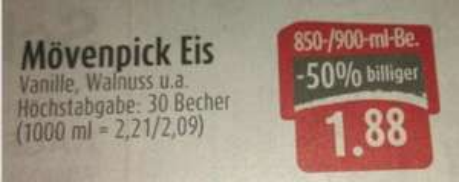 [Lokal Lauf a.d.Pegnitz] Mövenpick Eis 850/900-ml 1,88€