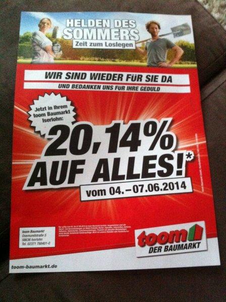 [LOKAL]Iserlohn Toom Baumarkt - 20,14% auf alles vom 4.-7.06.2014