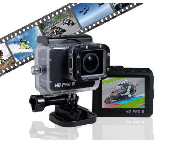 HD PRO 2 Action Cam (Full HD, 60 fps, 20 Megapixel, 2 Zoll LCD Display, WiFi, gratis App) schwarz @MP