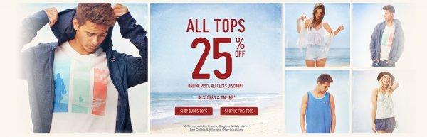 Hollister 25% auf Tops + kostenloser Versandt [on- & offline]