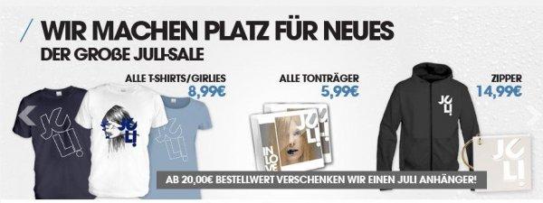 Deutsch Pop/Rock Band - Juli - Merchandising Sale - T-Shirts und mehr