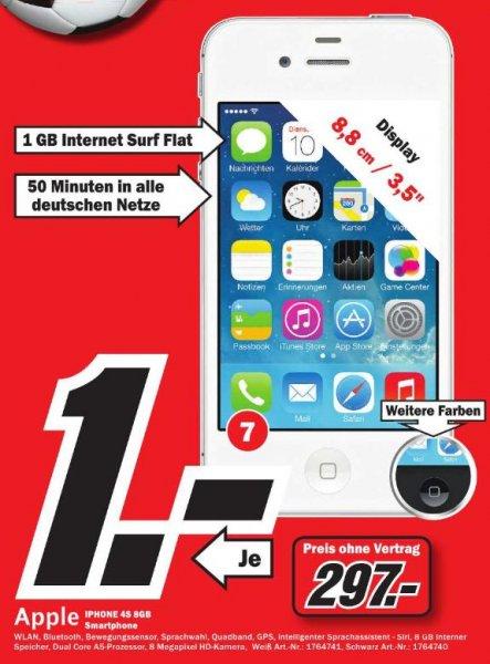[Lokal MM Würzburg, SW, Neustadt a. d. Saale] iPhone 4S 8GB schwarz und weiß für 297€