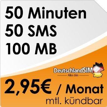DeutschlandSIM SMART 50 monatlich kündbar (100MB Daten-Flat, 50 Frei-Minuten, 50 Frei-SMS, 2,95 Euro/Monat, 15ct Folgeminutenpreis) o2-Netz