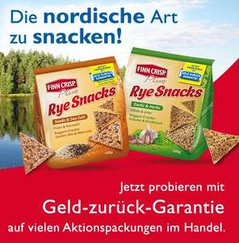 FINN CRISP Rye Snacks Geld zurück Garantie