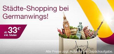 Tickets bei Germanwings ab 33 Euro