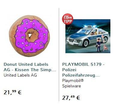 """30% Rabatt vom Gesamtpreis beim Kauf des PLAYMOBIL® Polizeifahrzeugs mit Blinklicht und des Simpsons """"Donut"""" Kissens. Versand ist kostenlos!"""