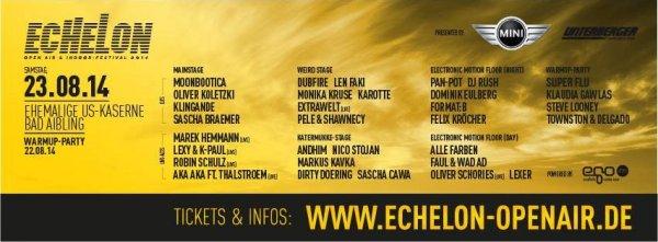[o2 Kunden] 2x Regular Tickets für Echelon 2014 für 48,97€ (E-Tickets) oder 52,40€ (Hard-Tickets)
