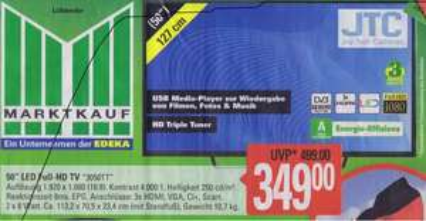 [LOKAL Marktkauf ]  günstiger 50 Zoll LED TV mit Triple Tuner, Full HD   ab 329€