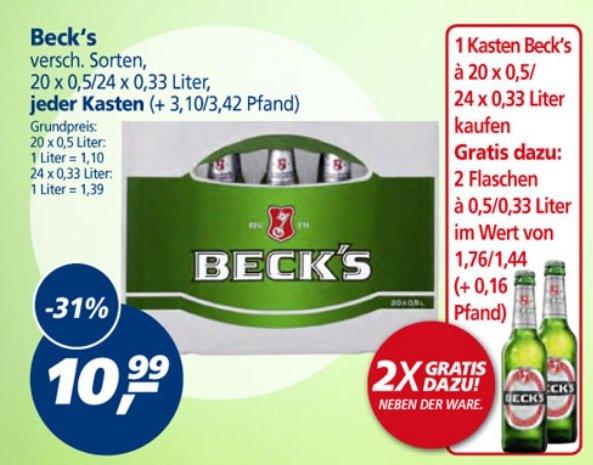 [Lokal] Beck's 22x 0,5l-Flasche für 10,99€ (1l = 1€) @ Real