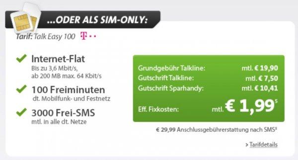 100 Minuten, 3.000 SMS, 200 MB Internet / D1-Netz für effekt. 1,99 € / Monat