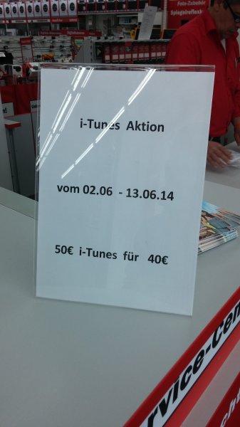 [Lokal Fulda] iTunes Guthaben 50€ für 40€ kaufen bis zum 13.06. @ Media Markt Fulda