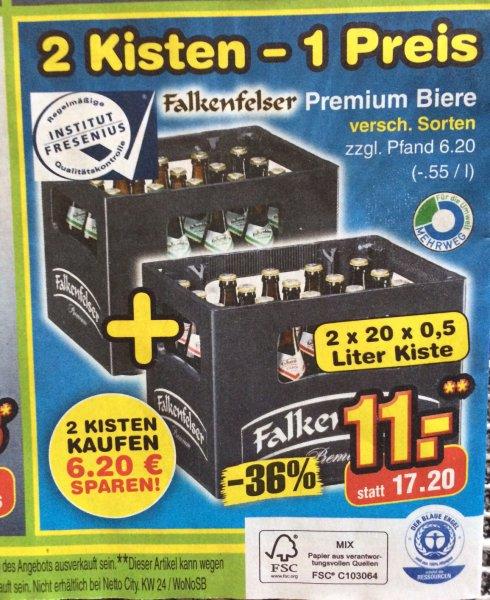 [Lokal] Netto (o. Hund) 2 Kisten - 1 Preis - Falkenfelser Premium Biere nur 11,- statt 17,20 €