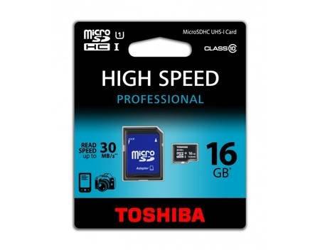 TOSHIBA 16GB MICRO SDHC CLASS 10 UHS I 30 MB/s microSDHC, UHS-1 + Adapter für 7,99 EUR (inkl. Versand)