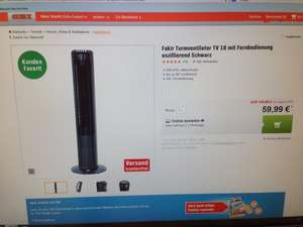 Fakir Turmventilator TV 18 - nur 59,99€ ohne Versandkosten