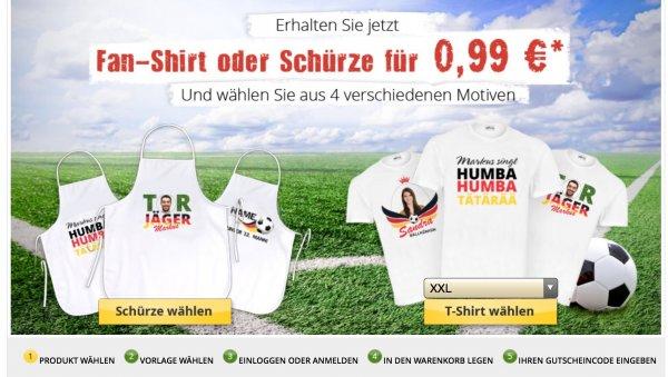 Deutschland Fan Shirt oder Schürze mit eigenem Motiv für 5,94€