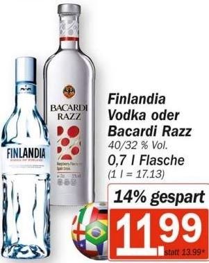 [HIT] Bacardi Razz oder Finlandia Vodka für 11,99 Euro