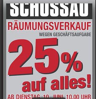 [Lokal Mönchengladbach] Schossau Räumungsverkauf 25% auf alles, ab 10.06. ab 10:00Uhr