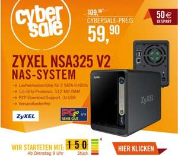 Zyxel NSA325 v2 2-Bay NAS (Leergehäuse) @ Cyberport Cybersale ab 09.00 Uhr für 59,90 EUR