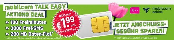 Getmobile/Mobilcom (Telekom Netz) für effektiv 1,99 pro Monat oder All-Net Flat für 9,90 bzw. Datentarif 3GB mit Hotspot-Flat für 7,99