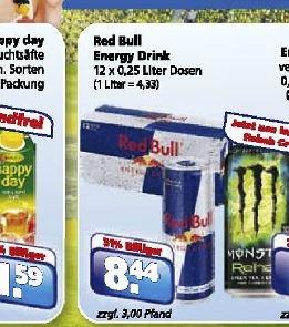[Toom Getränkemarkt] Red Bull 12er Pack für 8,44 € (+3€ Pfand) - entspricht 0,70 € pro Dose