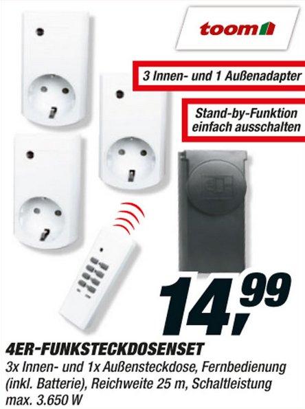Funksteckdosen Set 5-Teilig (3650Watt/Steckdose) bei Toom Baumarkt für 14,99€