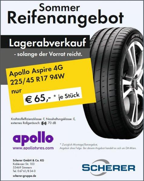 Lagerabverkauf Apollo Aspire 4G 225/45 R17 94 W  DA Ware