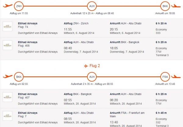 Gabelflug im Sommer nach Bangkok