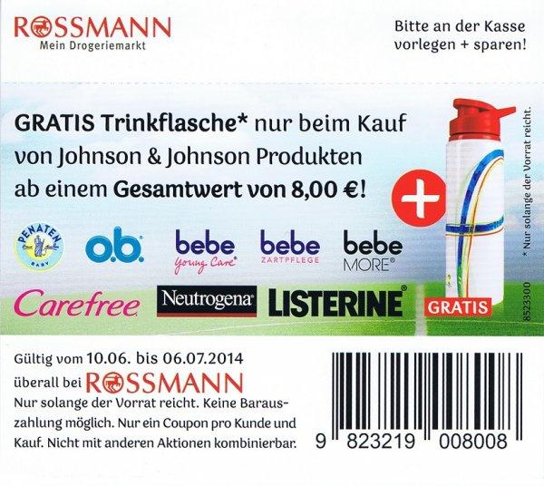 [Rossmann]  Gratis Trinkflasche beim Kauf von Johnson&Johnson Produkten im Gesamtwert von 8€