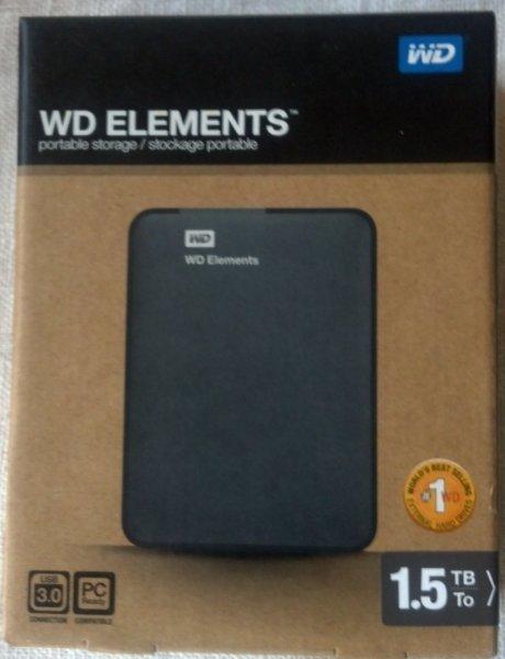 """[BERLET] WD Elements portable 2.5"""" USB3.0 1500GB (WDBU6Y0015BBK)"""