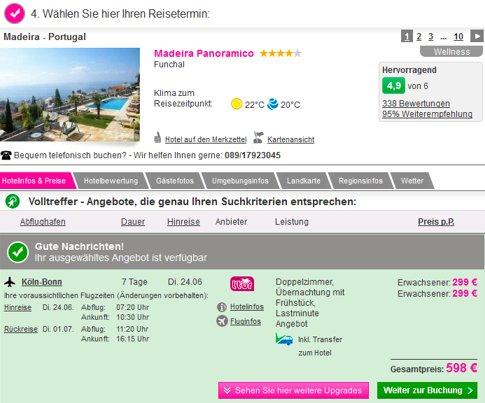 1 Woche Madeira im sehr guten 4* Hotel schon für 299 Euro inkl. Flug, Transfer und Frühstück