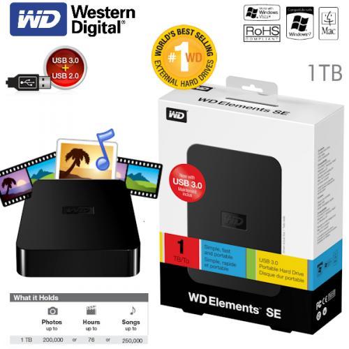 "iBOOD.de: Western Digital 1 TB Elements 6,35cm (2,5"") externe, portable Festplatte mit USB 3.0"