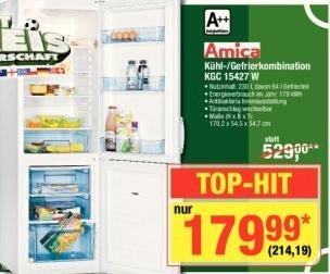 [Metro] Amica KGC 15427 W Kühl-Gefrierkombi A++ fast 100,- (33%) günstiger