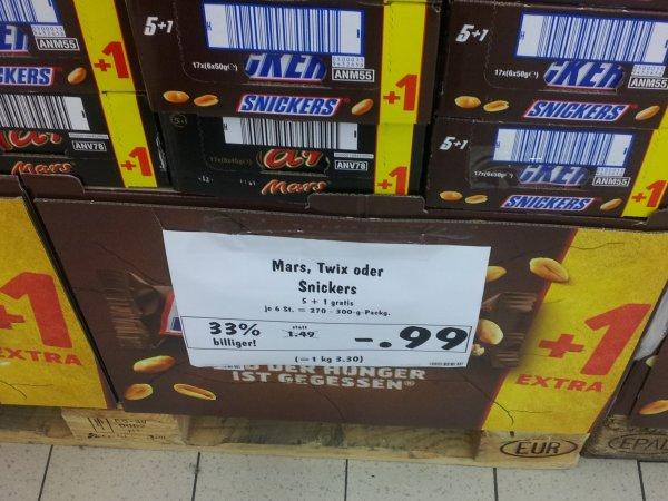 (Kaufland) Snickers, Mars oder Twix 6er Pack für 0,99