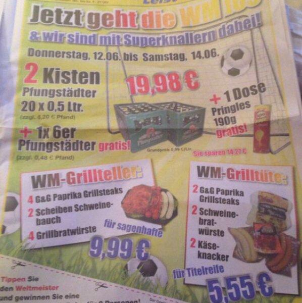 [lokal] 2 Kästen Pfungstädter Edelpils, Radler oder Weizen + 1 Sixpack Pfungstädter Edelpils 0,33 + Pringles nach Wahl für 19,98 + 6,68 Pfand. 14,27 Euro Ersparnis + Grillangebote.