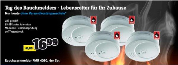 CONRAD Rauchmelder FMR 4030 ( 4 Stück) Kostenlose Lieferung 16,99 €