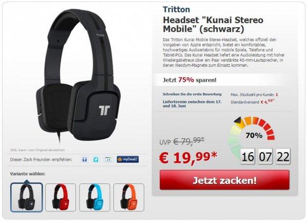 "Tritton™ - Stereo Mobile Headset ""Kunai"" (Schwarz,Blau,Rot,Orange) für €24,94 [@ZackZack.de]"