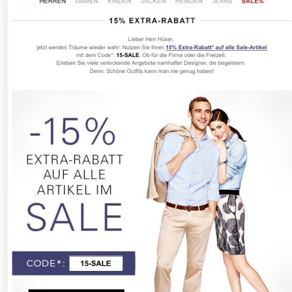 15% zusätzlich auf alle Sale Artikel Peek&Cloppenburg Online (Fashion-ID)