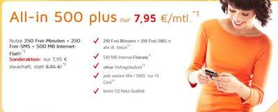 Simdiscount Allnet Flat mit 250 Minuten, 250 SMS und 500MB für 7,95€  O2 Netz – monatlich kündbar