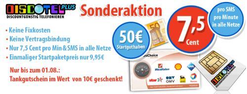 Discotel Karte + 10 Euro Tankgutschein + 50 Startguthaben + 4,98 € Qipu Cashback (?)