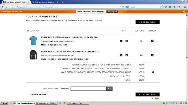 Günstige Kleidung durch Preisfehler bei TheHut, z.B. Bench Hoody + Bench Polo für 25€