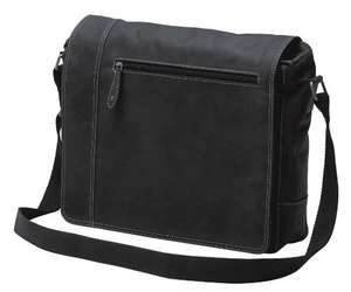 Messengerbag Umhängetasche aus schwarzem Leder für 49€ [AMAZON]