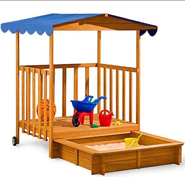 Sandkasten mit Haus und Dach aus Holz, Kinder-Spielhaus mit Sonnenschutz