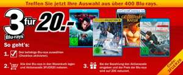 Media Markt - 3 Blu-Rays für 20€