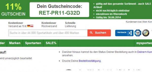 11% auf das gesamte mysportworld-Sortiment, z.B. DFB Heim Trikot WM 2014 für 50,13€ zzgl. VSK