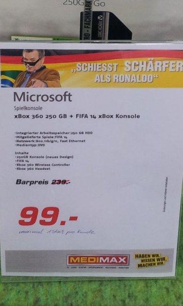 Xbox 360 inkl Fifa14 Bundle + Headset nur 99 € MediMax Pfungstadt