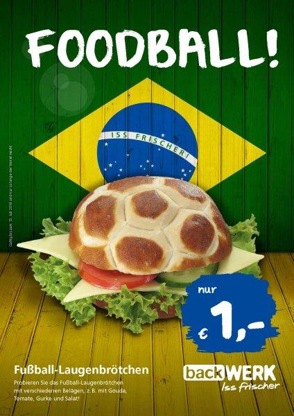 Foodball: Belegtes Laugenbrötchen bei BackWerk für 1 €