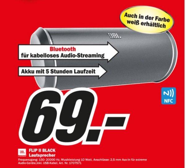 [Lokal MM Porta Westfalica] JBL Flip 2 Portabler bluetooth Lautsprecher in schwarz oder weiss für 69,00€ statt 119,00€